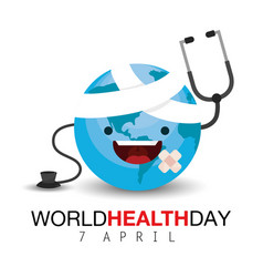 Happy earth planet to health day vector