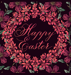 Happy easter lettering on a floral vector
