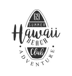 Hawaii beach adventure club logo template black vector
