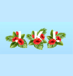 j k l letters surrounded summer tropical leaves vector image