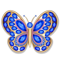 jewelry gold butterfly in gems beautiful vector image