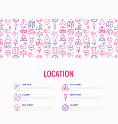 location concept with thin line icons vector image