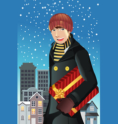 man shopping for christmas vector image