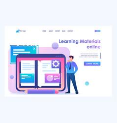 Man studies materials lessons flat 2d vector