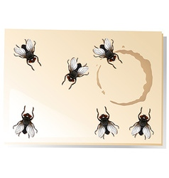 Many flies on the water stain vector