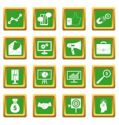 Marketing items icons set green vector