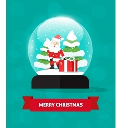 Merry Christmas snow globe with Santa Claus gift vector