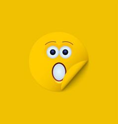 modern yellow face sticker creative vector image