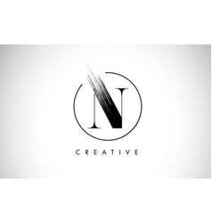 N brush stroke letter logo design black paint vector
