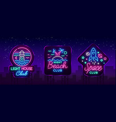 nightclub set neon signs logo collection in vector image