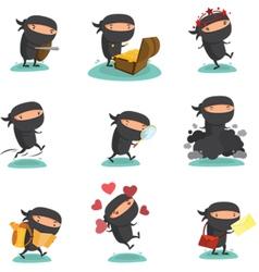 Ninja Mascot set 4 vector