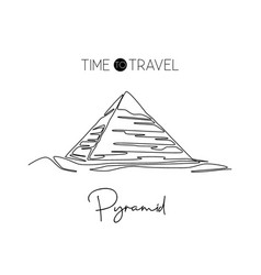 one continuous line drawing pyramid landmark vector image