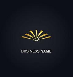 Open book knowledge gold logo vector