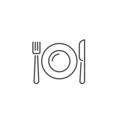 Plate fork and knife related line icon vector