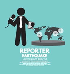 Reporter with earthquake news vector