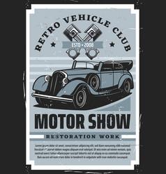 Retro car restoration service vintage motor show vector