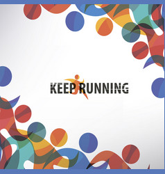 running people set of stylized icons and vector image