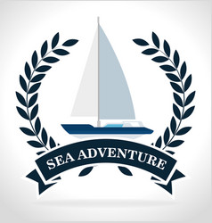sea adventure sailign boat label design vector image