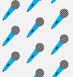 Seamless pattern vintage color microphone vector image