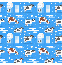 seamless pattern with gazing cow vector image