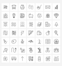 Set 49 line icon signs and symbols meal hot vector