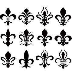 set emblem fleur de lys symbol icon vector image