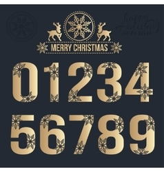 Set of Christmas golden alphabet with snowflakes vector