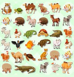 set of cute animal sticker vector image