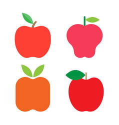 set of fresh red apples with green leafs vector image