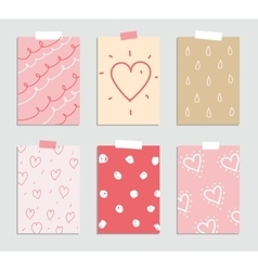 Set of love and romantic cards Template for vector