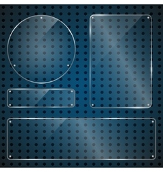 Set of transparent blank glass panels vector image