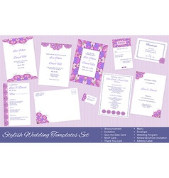Set of wedding templates vector