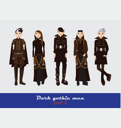 Set with dark gothic young men guys vector
