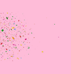 shiny falling confetti pieces on pink background vector image