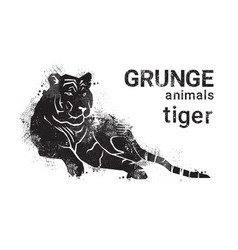 Silhouette tiger in grunge design style animal vector