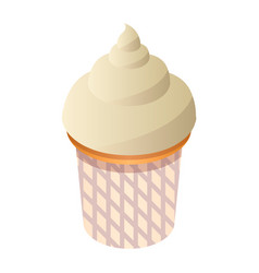Small cupcake icon isometric style vector