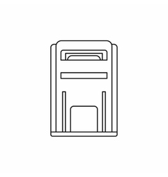 Square post box icon outline style vector image