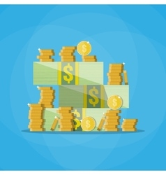 Stacks of cash with a pile gold coins vector image