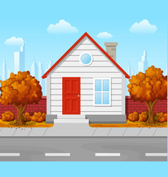 suburban house with autumn tree city background vector image