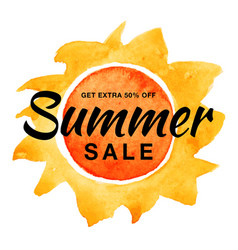 Summer sale banner with watercolor sun background vector