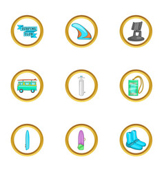 surfing trip icons set cartoon style vector image