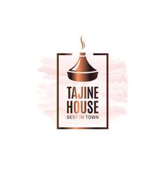 Tajine or tagine watercolor logo on white vector