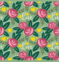 valentines floral seamless pattern vector image