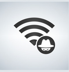 wifi connection signal icon with hacker attack vector image