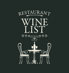 wine list for restaurant with a table for vector image