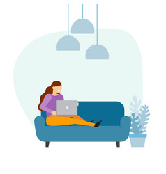 woman using a laptop computer at home vector image