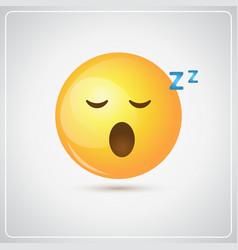 Yellow smiling cartoon face sleeping people vector
