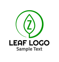 z leaf logo symbol icon sign vector image