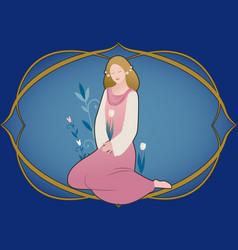 Zodiac sign virgo beautiful girl surrounded vector