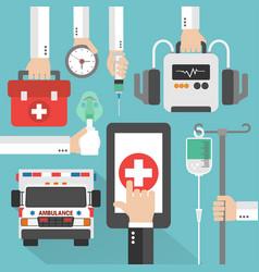 Ambulance medical online design flat vector